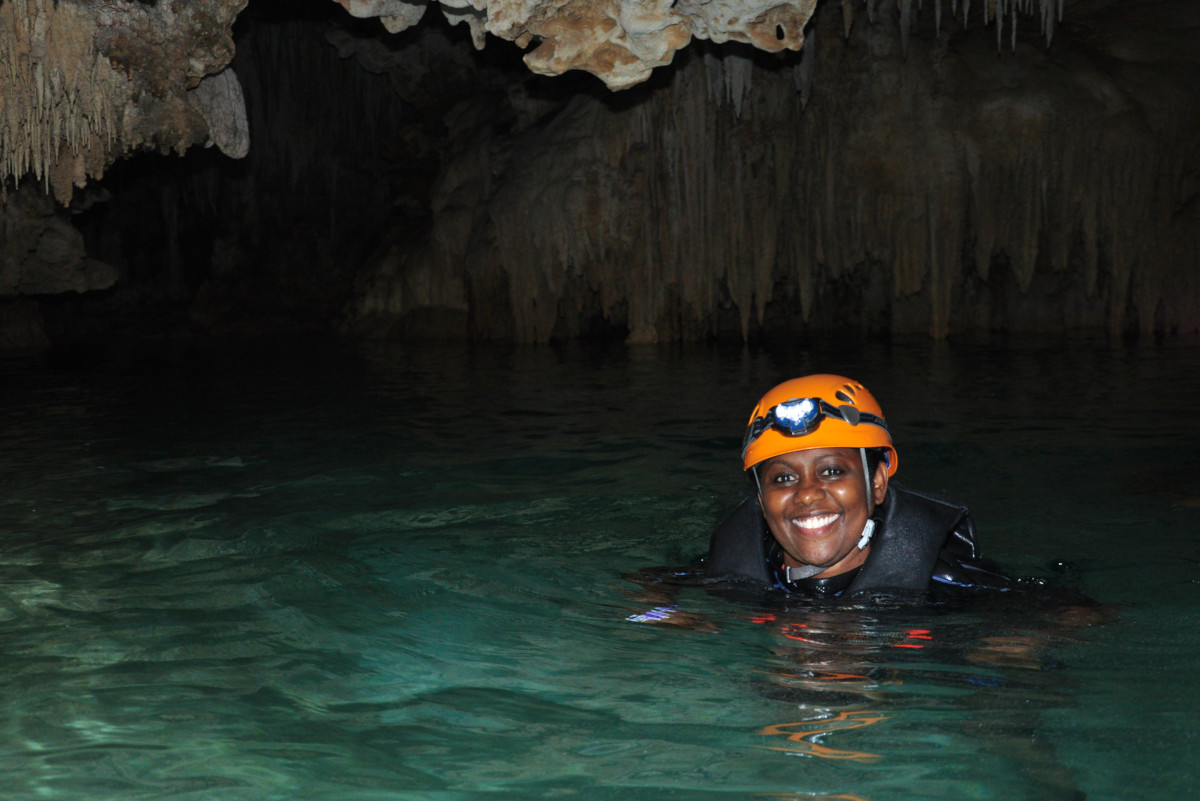 Janet Johnson in caves